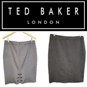 Ted Baker Grey Pencil Skirt Size 3/M